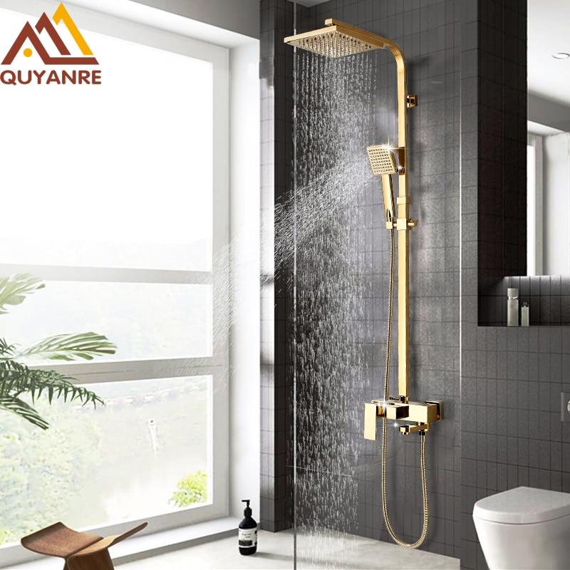 Lüks altın duş musluk seti pirinç yağış duş 3 yollu musluk bataryası duvara monte banyo duş sistemi seti döner küvet duş musluk