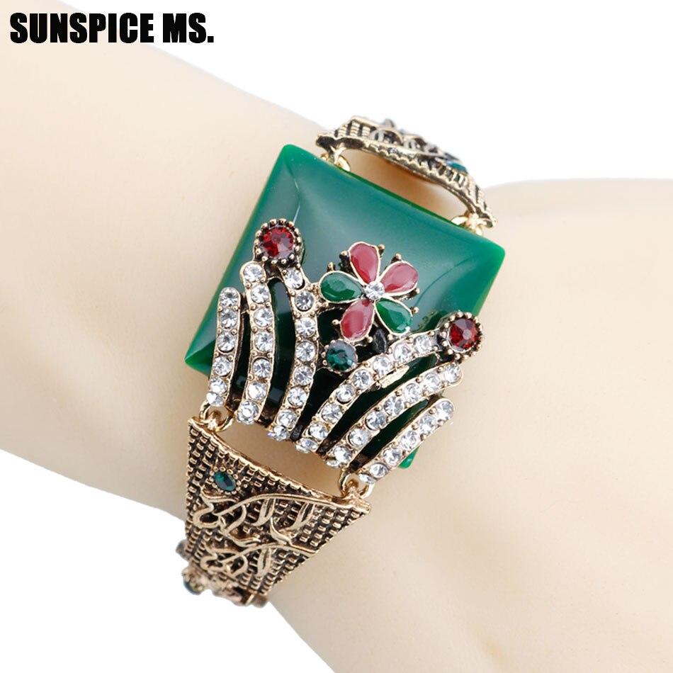 2020 Turkish Vintage Flower Cuff Bracelets For Women Resin Crystal Bangle Bohemia Pastoral