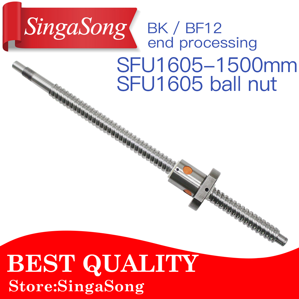 16mm 1605 Ball Screw Rolled C7 ballscrew SFU1605 1500mm with one 1500 flange single ball nut for CNC parts free shipping sfu1605 rolled ball screw c7 with 1605 flange single ball nut for cnc parts rm1605 for different length