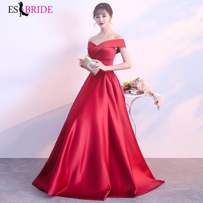 Red Long   Dress     Evening     Dresses   Boat-neck   Evening     Dress   A-line   Evening   Gown Formal   Dress   Women Elegant Special Occasion ES2457