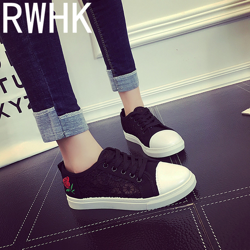 RWHK 2019 summer new lace breathable mesh rose embroidery casual womens shoes tide wild flat B363