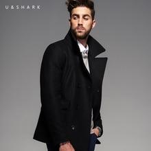 Зима Ретро Англия Стиль Ветрозащитный Черный Peacoat Марка Мужчины Готический Одежда 2016 U & Shark Случайный Шерсти Пальто Мужской куртка