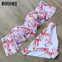 RUUHEE Bikini Swimwear Swimsuit Women Bat Sleeve Bikini Set Biquini 2017 Beachwear Push Up Bathing Suit