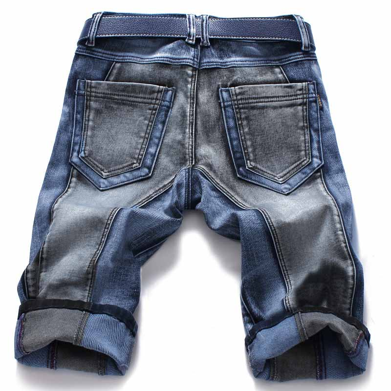 Mcikkny Fashion Men's Straight Denim Shorts Slim Fit Patchwork Jeans Shorts For Male Straight Streetwear  (6)