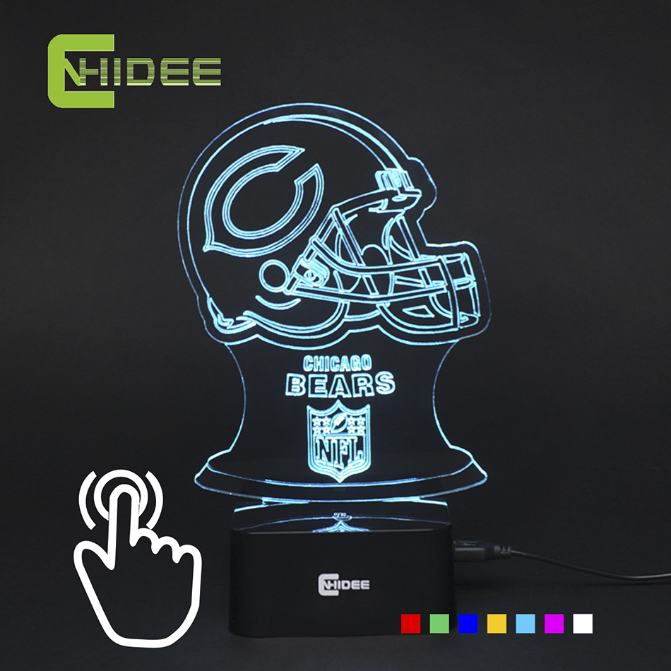 Led night lamp manufacturers - 7 Colors Changing Chicago Football Led Lamp Bear 3d Night Light For Soccer Fans As Home
