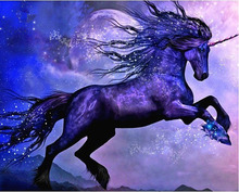 Diy Diamond Painting Purple Unicorn Needlework round Cross Stitch Embroidery Crystal Resinstone Mosaic Handicraft