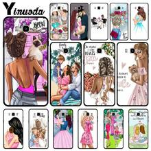 Yinuoda Black Brown Hair Baby Mom dad Girl Queen Fundas Phone Case Cover For Samsung J2 PRIME J2 Pro J4 puls J7 2017 J8 2018(China)