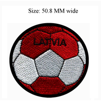 Soccer Ball LATVIA embroidery patch 50.8 MM wide /Sports/boy patch/iron backing