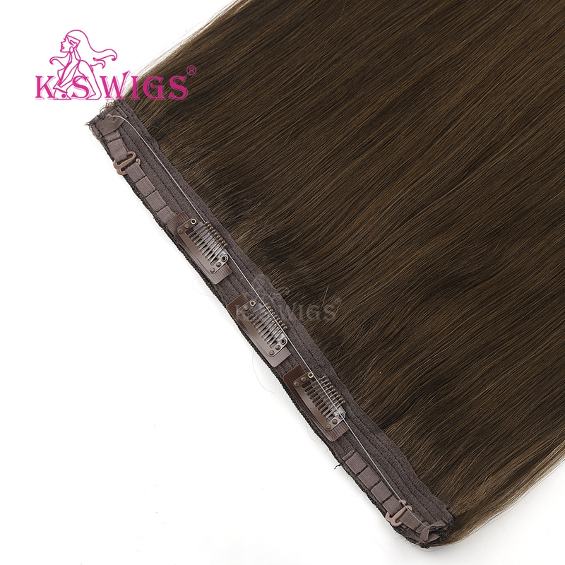 K.S Wigs 20'' Remy Human Hair Straight Halo Hair Invisible Wire Clip In Human Hair Extensions 100g