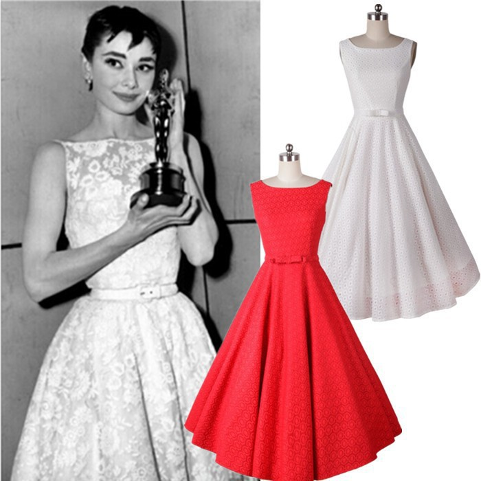 2015 New Audrey Hepburn Retro Elegant Bow Belt Lace Crochet Lace ...