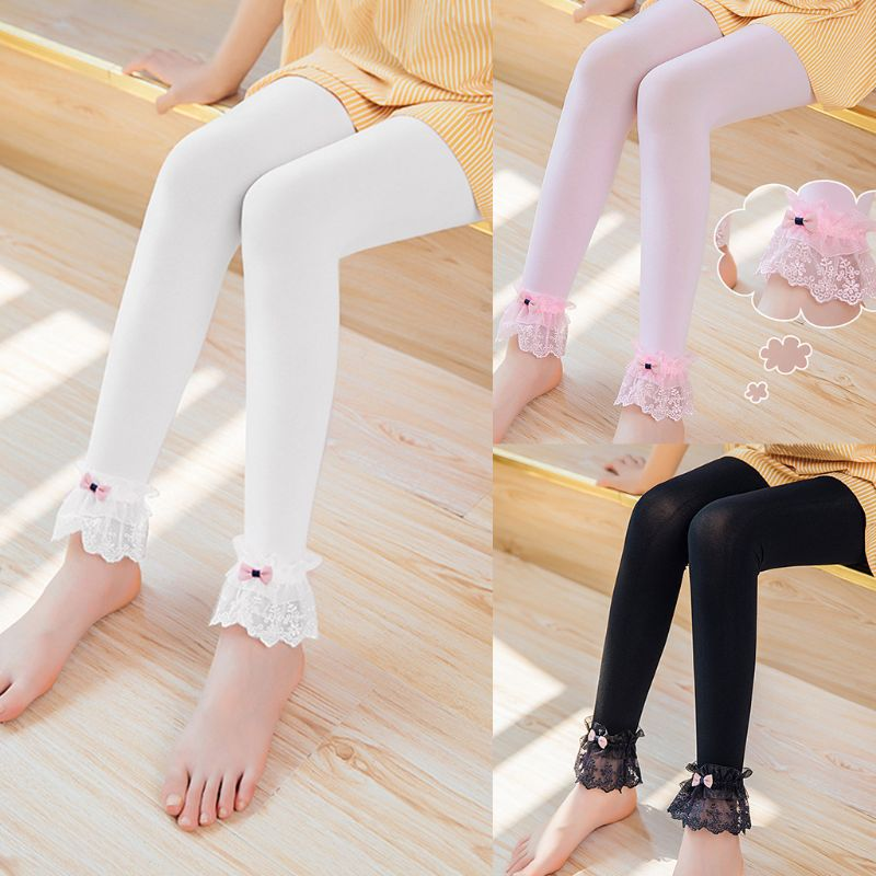 Kids Girls Spring Summer   Leggings   Lace Trim Bowknot Ankle Length Pants Solid Color Elastic Princess Footless Dancing