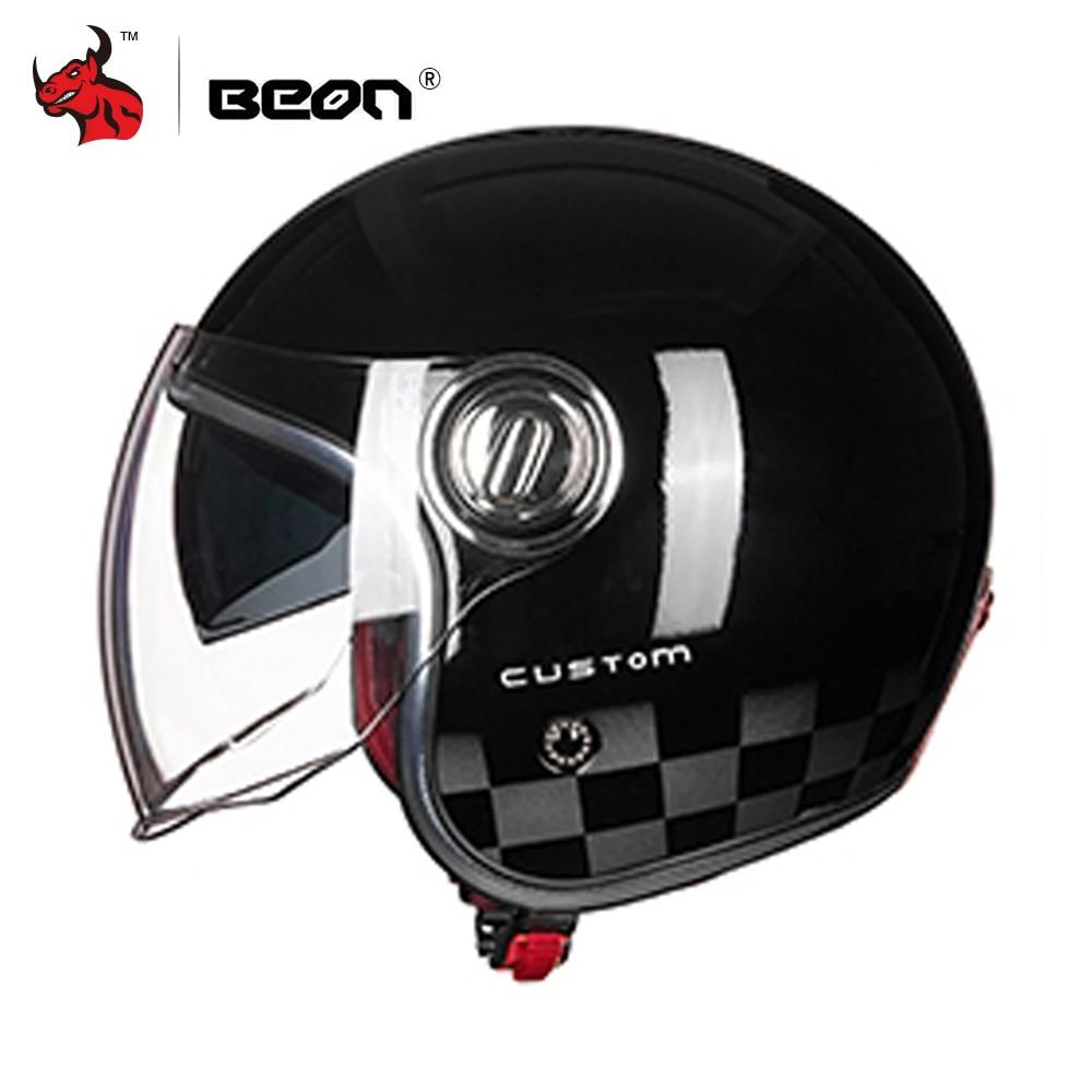 BEON Motorcycle Helmet 3/4 Open Face Vintage Moto Helmet Motorbike Casco Capacete Biker Retro Scooter Helmet Double Visor стоимость