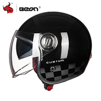 BEON Motorcycle Helmet 3/4 Open Face Vintage Moto Helmet Motorbike Casco Capacete Biker Retro Scooter Helmet Double Visor