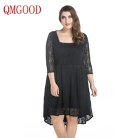 QMGOOD Autumn Large Size Women Clothing 7XL Black Lace Dress Big Swing Asymmetry Square Collar Plus