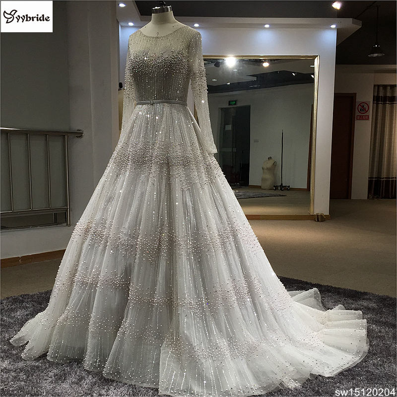 New Arrived Customized Hand Sewing Pearls Wedding Dress A-line Long Royal Train Bridal Gown Boat Neck Backless Wedding Dresses