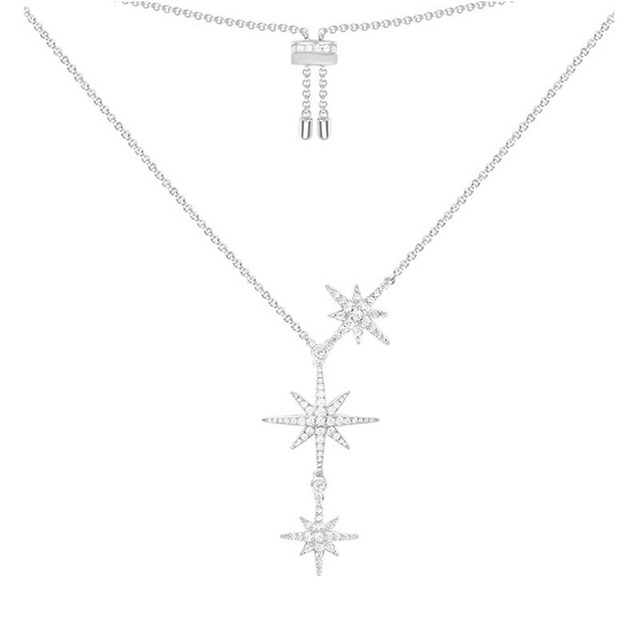 SLJELY High Quality Fashion Real S925 Sterling Silver Three Stars Fine Necklace Zirconia Stones Women Fine Jewelry