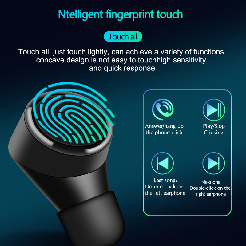 Nasin TWS 5.0 Mini Bluetooth Earphones Wireless Sports touch waterproof Stereo Headset Noise Cancelling Earbuds With Microphone