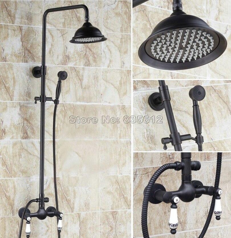 Black Oil Rubbed Bronze Bathroom Rainfall Shower Set Faucet + Ceramic Handles Mixer Taps + Handheld Shower Wall Mounted Wrs512