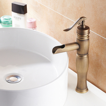 Antique Brass Bathroom Faucet Bath Toilet Retro Basin Faucet Single Handle Wash Basin Taps Tall Lavatory Faucet AB-003V