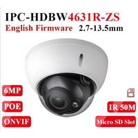 Dahua Motorized Zoom Camera IPC HDBW4631R ZS Day Night CCTV Camera with 50M IR Range Vari Focus Network Camera H.265 6mp Camera