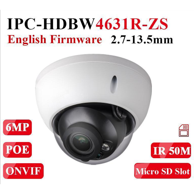 Dahua Motorized Zoom Camera IPC-HDBW4631R-ZS Day Night CCTV Camera with 50M IR Range Vari-Focus Network Camera H.265 6mp Camera