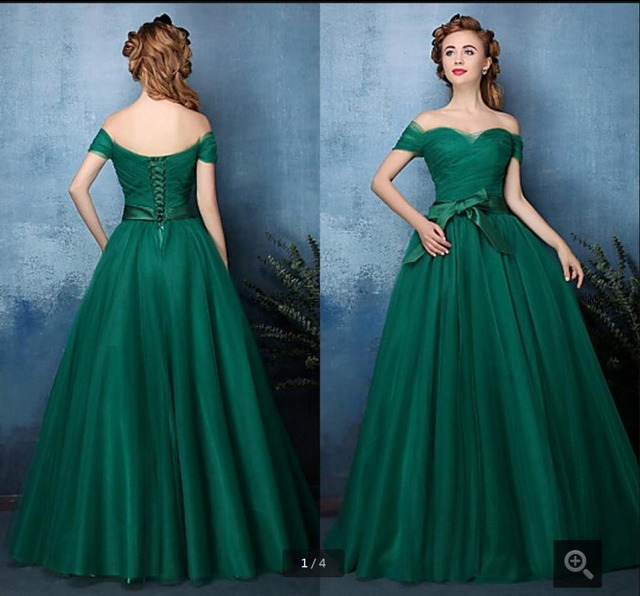 Ball Gown Dark Green Off Shoulder Sweetheart neck prom dress Lace Up ...