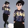 kids hip hop clothing 2016 new fall/spring long sleeve printing fashion cotton t-shirt tops harem pants 2pcs kits Korean style