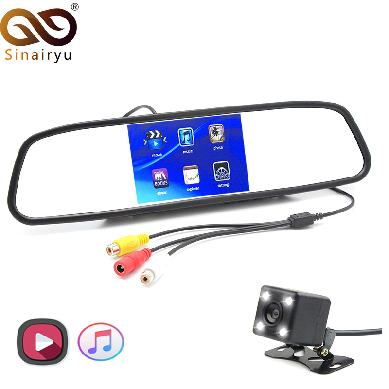 HD 1080P FM Transmit Video Player 4.3 inch Car MP4 MP5 Mirror Parking Monitor With 4 LED Night Vision Rear View Camera sinairyu 2in1 7 inch car video parking monitor mp4 mp5 car mirror monitor sd usb with rear view camera hands free