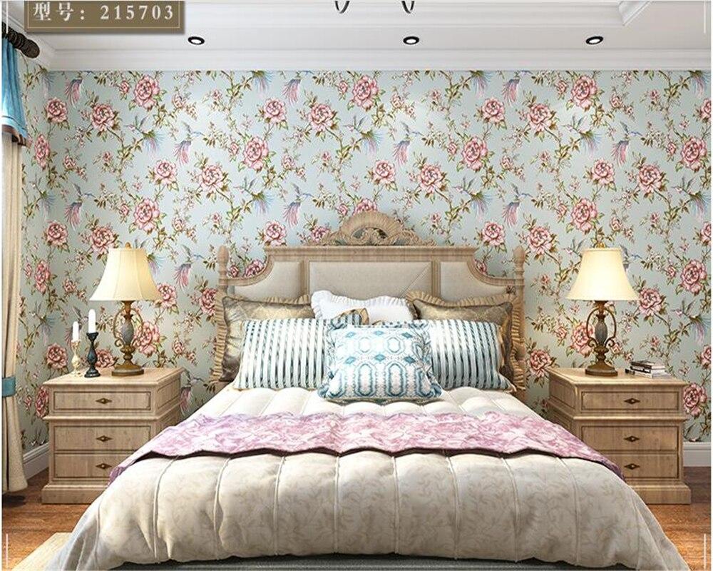 Beibehang papier peint papel de parede frais et élégant jardin fleurs et oiseaux Village américain papier peint chambre TV fond