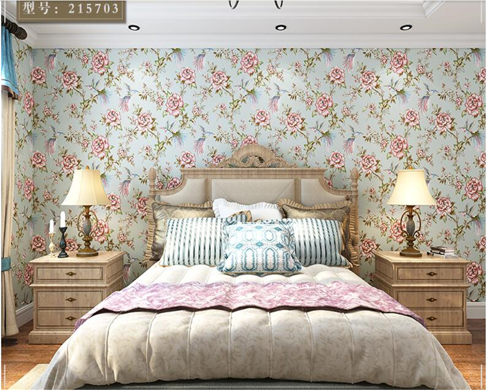 beibehang papel de parede wall paper Fresh and stylish garden flowers and birds American Village Wallpaper Bedroom TV Background