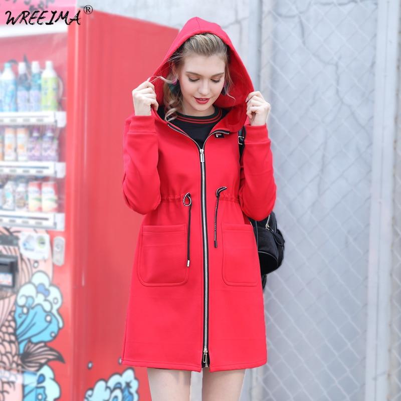 Ms Rompevientos Nueva rojo Las Negro Cardigan Ropa Femenino Chaqueta Suelto  Larga Invierno Manga Elegantes Con ... 9b04337d12ab