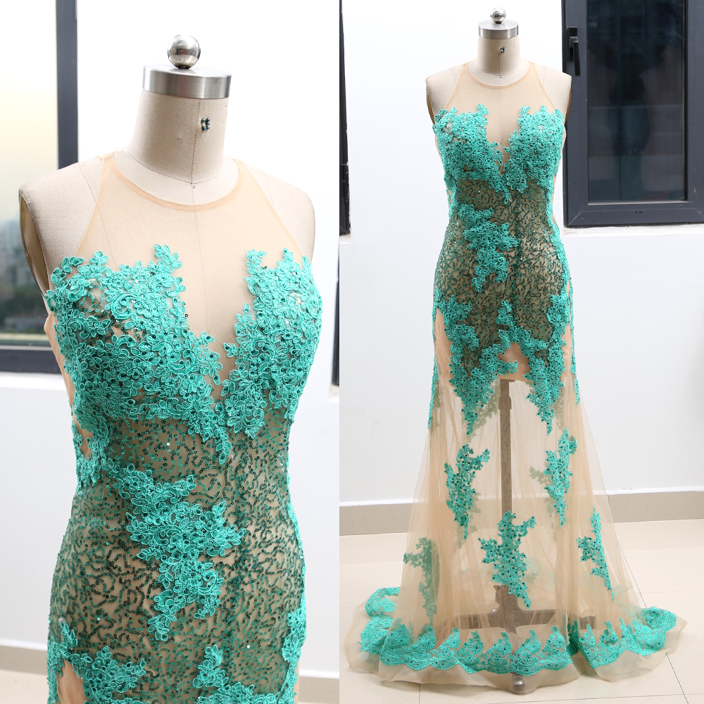 MACloth Green Sheath O Neck Floor-Length Long Crystal Tulle Prom Dresses Dress M 263949 Clearance
