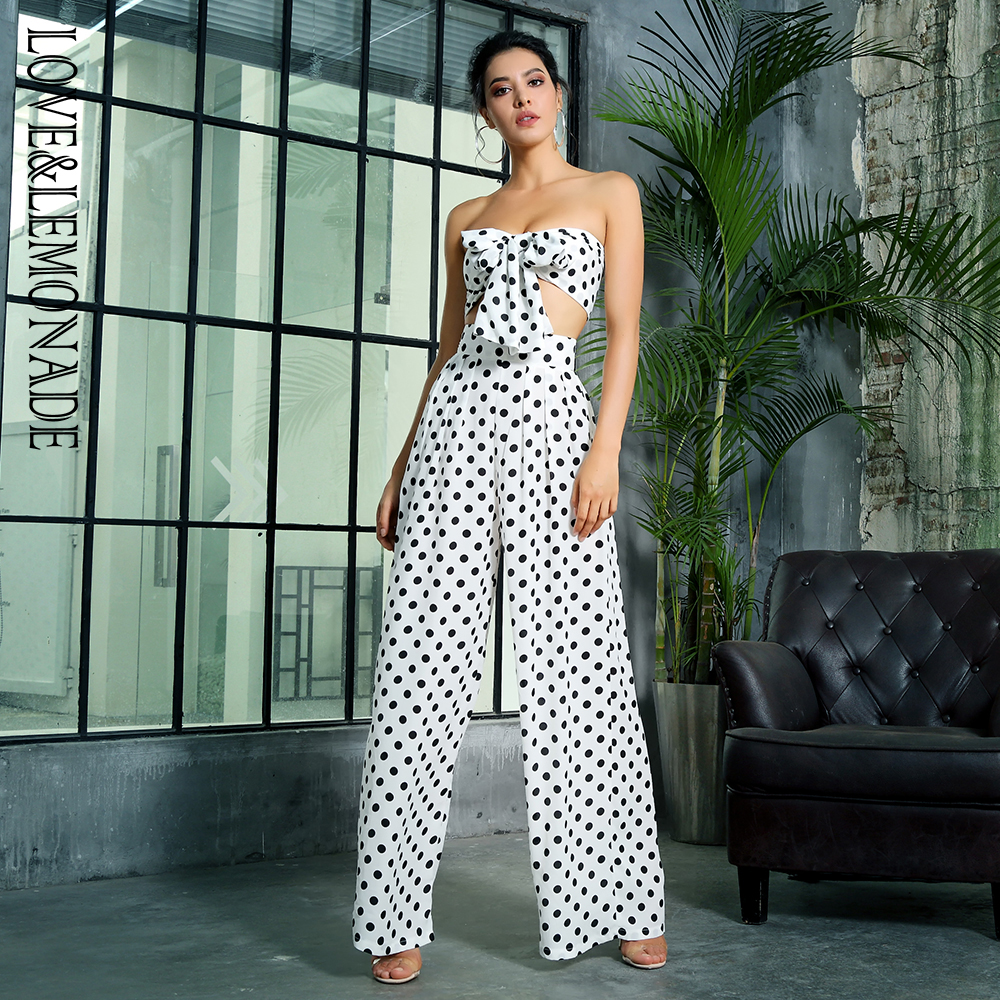 Love&Lemonade Black And White Dots High Waist Bell Two-Pieces Set LM1409