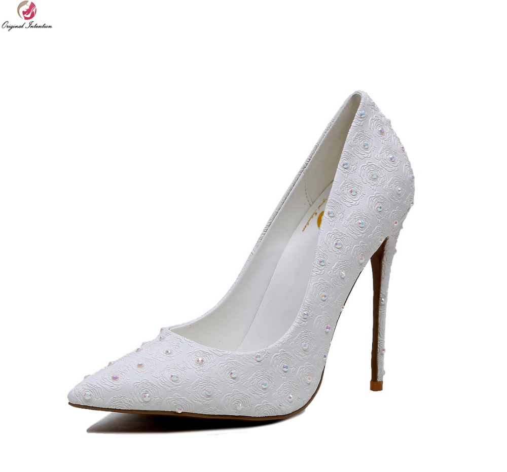 Original Intention Women Pumps 2017 Elegant Pointed Toe Thin Heels Wedding Pumps Fashion White Shoes Woman Plus Size 4-10.5 bowknot pointed toe women pumps flock leather woman thin high heels wedding shoes 2017 new fashion shoes plus size 41 42