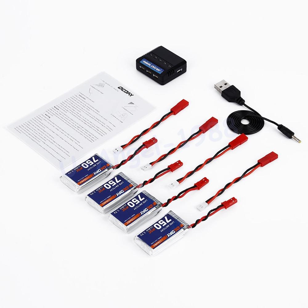 Wholesale OCDAY 4pcs 3.7V 750MAH 25C 1S1P 2.78WH Battery & X4 Charger for MJX X400 X500 X800 X300C