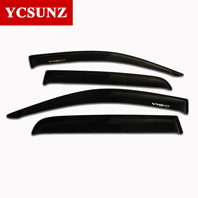 ABS Side Window Deflectors Of Accessories For Toyota Hilux Vigo 2012 2013 2014 Black Color Sun