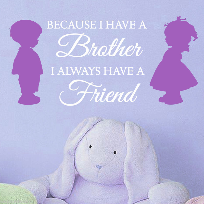 US $10 28 31% OFF|UP 2 Color Brother SISTER LOVE FRIENDS Vinyl Quotes Wall  Decals Stickers Art Home Decor Kid Nursery Room Mural KW 256-in Wall