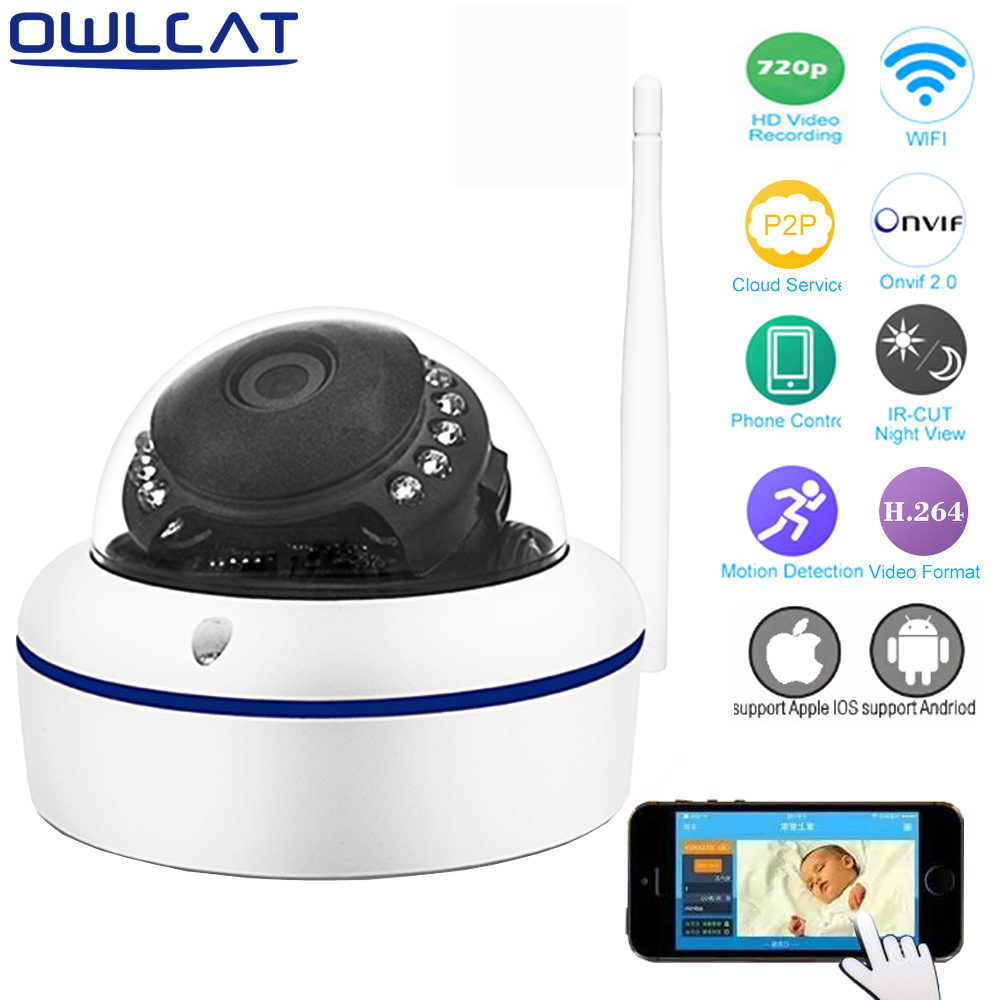 OWLCAT Home Smart Full HD 720P CCTV IP Camera Wireless Smart Dome Video Network IP Security Camera IR CCTV P2P Android IOS escam p2p dome ip camera onivf home security cctv smart phone view