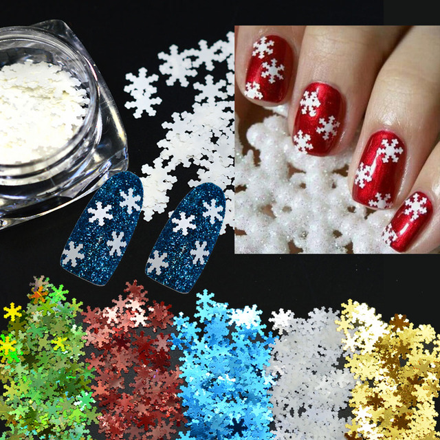 1Box Holo Nail Glitter Flakies Snow Flower Laser 3d Nail Sequins Glitter Manicure Tips Decorations DIY For Nails LA396