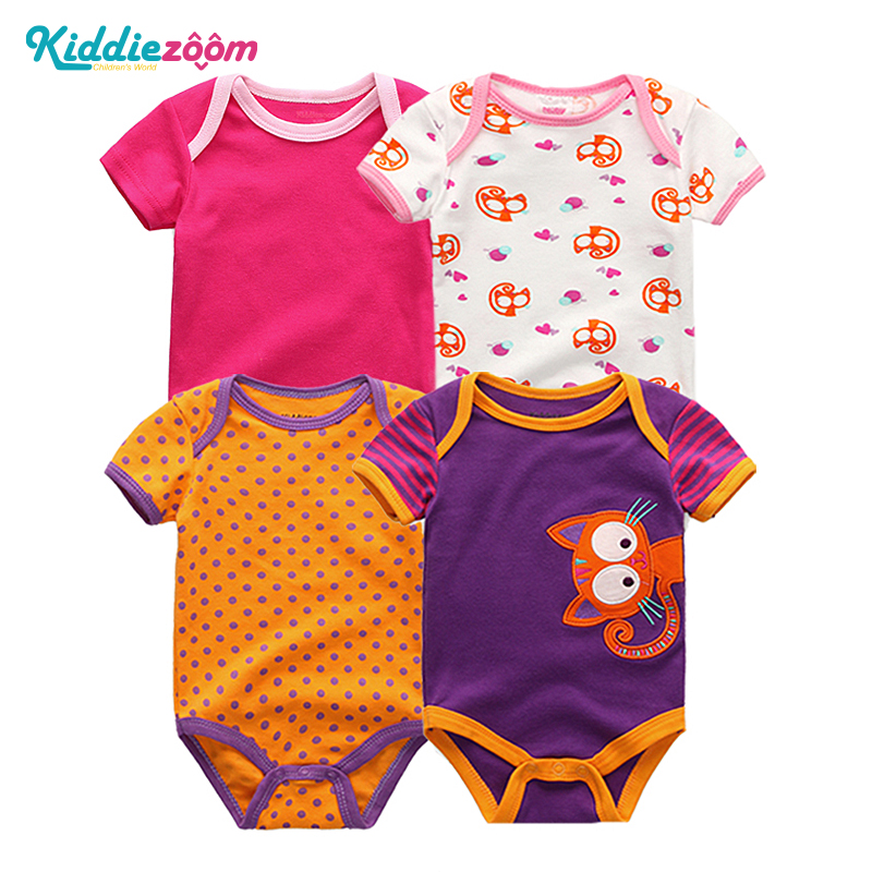 4PCS/LOT Baby   Rompers   Short Sleeve Summer Girls&Boys Clothing for Newborn Jumpsuits 3 6 9 12Months infants and toddler clothing