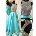 Сексуальная открытой спиной штапики линии длинные платья выпускного вечера Vestido феста кристалл Beadings вечерние платья 2016 быстрая доставка