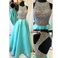 Sexy Open Back Beadings Top A line Long Prom Dresses Vestido De Festa Crystal Beadings Evening Prom Dress 2016 Fast Shipping