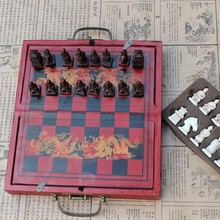 Antique Chess Terracotta Warriors Three-dimensional Pieces Wooden Folding Chessboard Small Christmas Gifts Easytoday