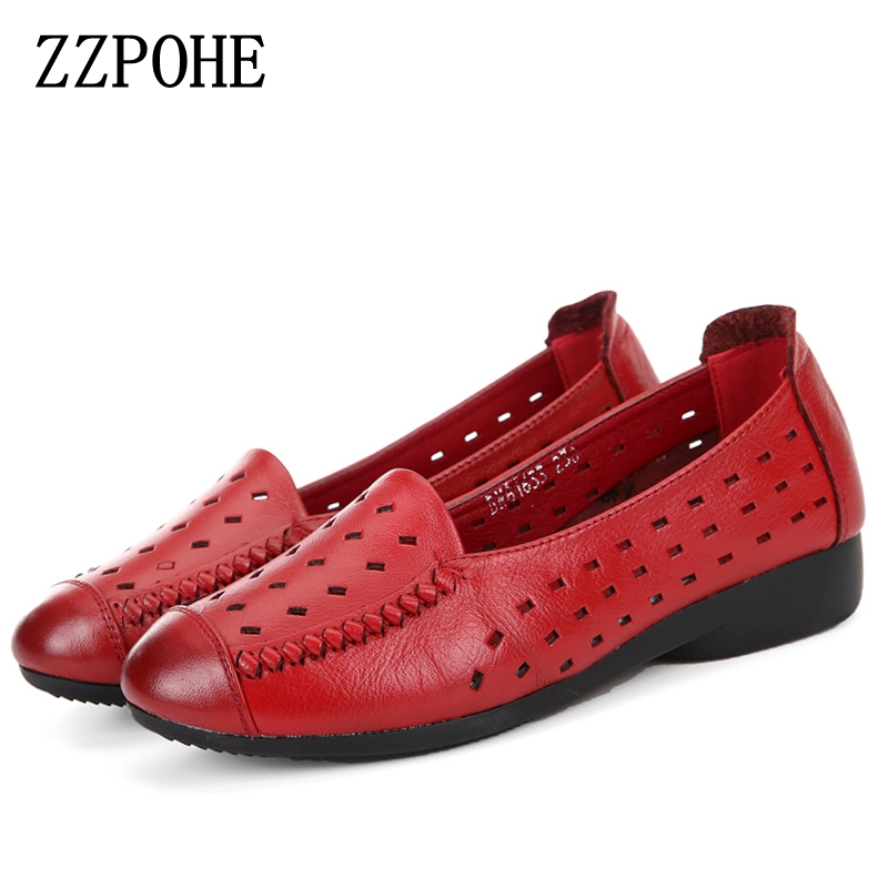 ZZPOHE Summer soft bottom mother sandals leather flat heel women's shoes flat middle-aged woman sandals hollow grandma shoes timetang summer new middle aged soft leather mother sandals soft bottom elderly large size flat woman non slip sandals c212