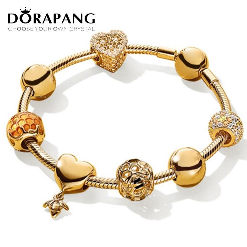 DORAPANG 100% 925 Sterling Silver Brand New Bracelet Suit 18 Gold Color Love Honey Honeycomb Bracelet Set Fit DIY Sweet Gift sweet solid color forbidden love shape bracelet for women