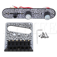 White 3Way Control Plate Electric Guitar Tremolo Bridge Replacement