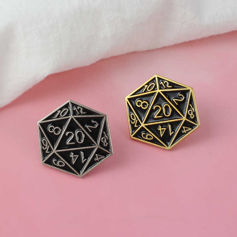 D20! Vinte-Sided Die Pin para Dungeons And Dragons fãs crachá D20 table-top jogos presentes Soft Esmalte Broches pin