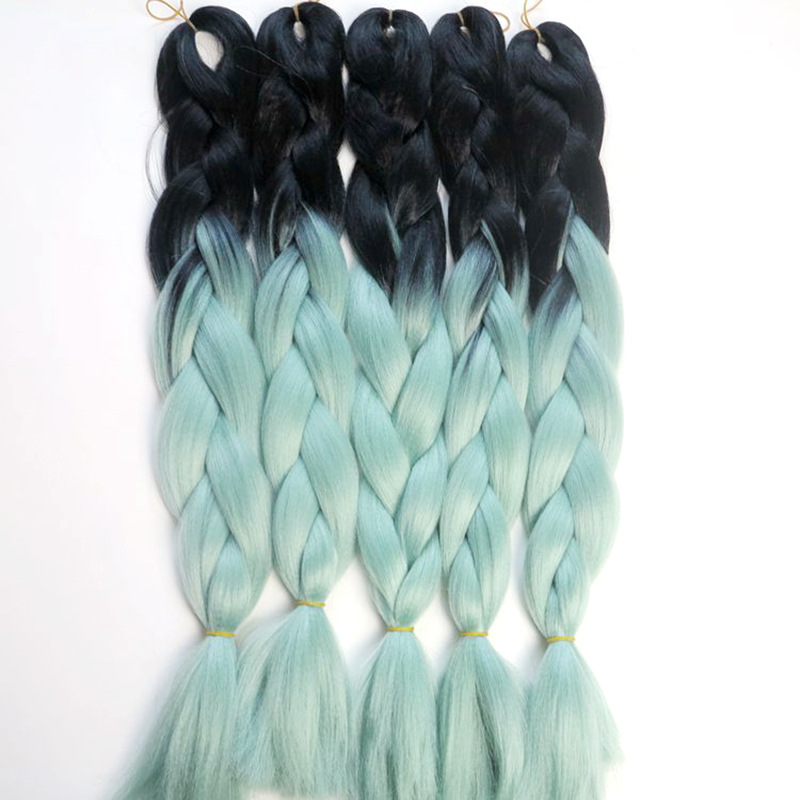 3pcalot hair extension ombre black light blue xpression jumbo 3pcalot hair extension ombre black light blue xpression jumbo braiding hair synthetic two tone color jumbo braid hair on aliexpress alibaba group pmusecretfo Images