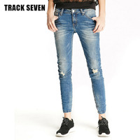 New TRACK SEVEN Z3200 Comfortable Women Pants Jeans 2017 Spring Lady Comfortable Elastic Slim Body Denim