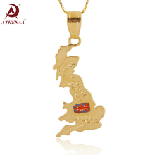 ATHENAA The United Kingdom of Great Britain and Northern Ireland Map Pendant Gold Color UK England Flag Charm Necklace Jewelry(China)